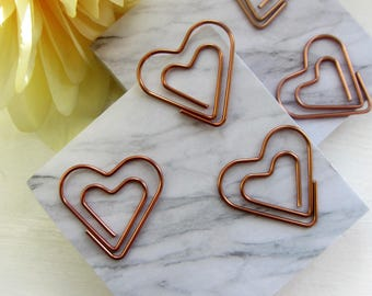 Rose Gold Copper Love Heart Paper Clips | Set of 5