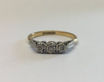 18ct Gold Diamond Trilogy Ring, Platinum Setting And Illusion Set Diamonds With White Gold Shoulders