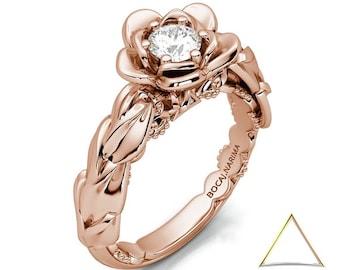 Rose Gold Flower Ring, Leaf Ring Gold, Botanical Ring, Engagement Ring Flower, Nature Inspired Ring, Flower Leaf Ring, 14K Rose Gold Ring