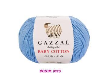 Gazzal Baby Cotton Yarn - Light Blue (3423)