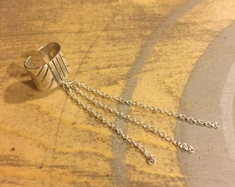 Silver ear cuff with chains