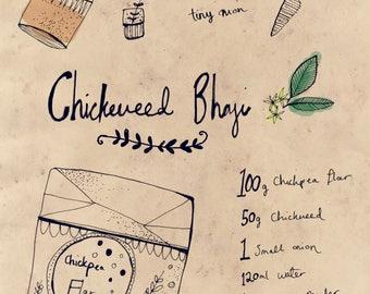 Chickweed Bhaji Recipe Print