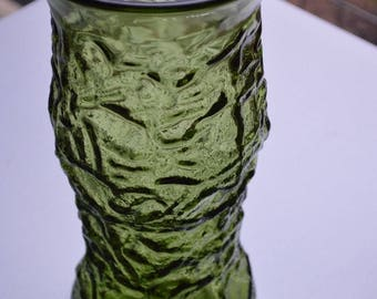 Vintage EO Brody Green Crinkled Pressed Glass Vase (G106), Cleveland OH, USA