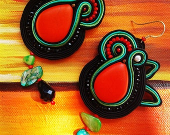 Soutache earrings. Colorful and cheerful rooms, ideal for those who want to wear the colors of AJB