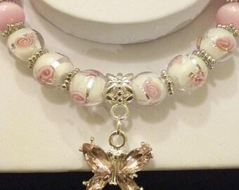 Pink Butterfly Bead Bracelet