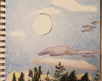 Crayon Drawing of the Evening Sky, Illustration, Nature