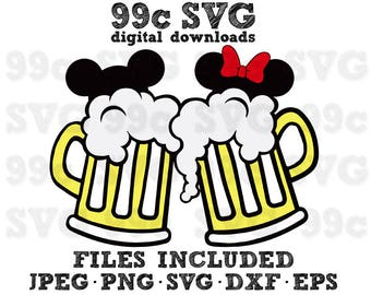 Mickey Minnie Beer Mugs SVG DXF Png Vector Cut File Cricut Design Silhouette Cameo Vinyl Decal Disney Party Stencil Template Heat Transfer