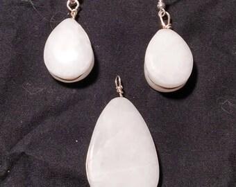 White Quartz Teardrop Earring & Pendent
