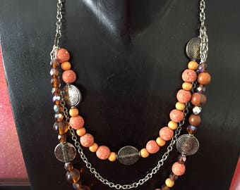 ethnic multi strand coral and silver necklace