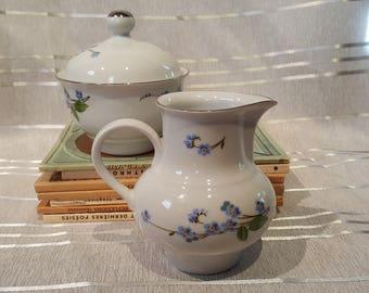 Vintage German Democratic Republic Made Ceramic Sugar Bowl and Creamer JLMENAU