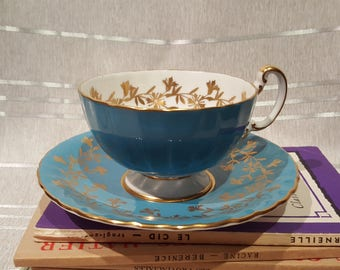 Vintage Aynsley Teacup and Saucer Bone China England Turquoise Blue Pattern 2312