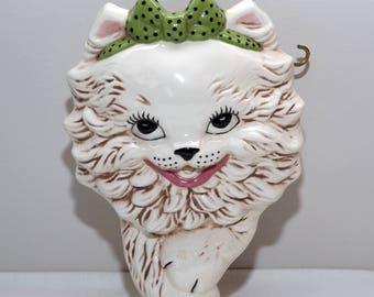 Vintage Ceramic Kitty Cat String Ball Holder