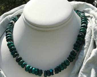 Chinese Turquoise Necklace With Silver Spacers