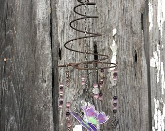 Crystal Purple Buterfly Mini Whimsy Suncatcher