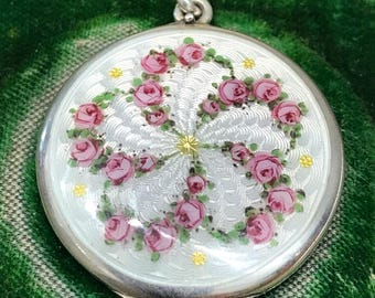 Sterling silver guilloché enamel locket, hand-painted with garlands of pink roses