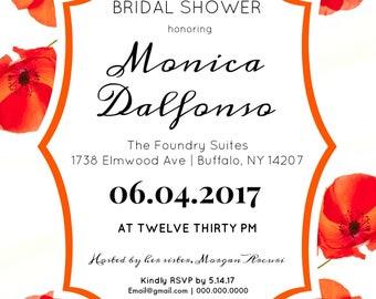 Bridal Shower - Baby Shower - Invitation Set - Printable - Poppy Flower - Wizard of Oz - Poppies - Digital File - Thank You Card
