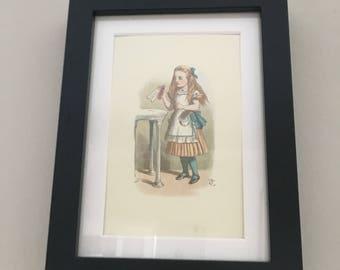 Classic Alice in Wonderland Illustration - framed Postcard - Alice Drink Me