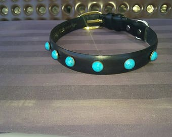 Black leather repurposed dog collar with turquoise studs
