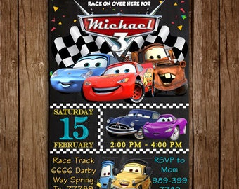Disney Cars Invitation, Cars Birthday Invite, Chalkboard Custom Birthday Invitation, Cars Party Invites, Cars Lightening McQueen Invitation