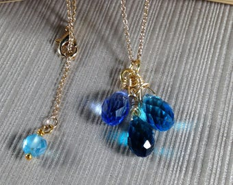 Three Shades of Blue Crystal Glass  Necklace - Teardrop briolette crystal glass beads