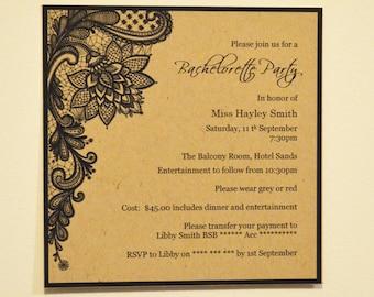 Invitation: set of 20, Black Lace Print