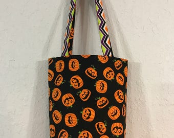 Halloween Trick or Treat Bag, Pumpkins and Chevron