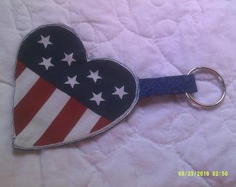 American flag heart keychain