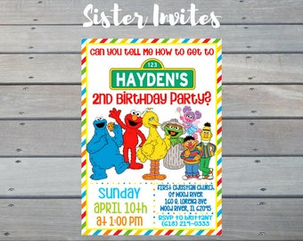 Sesame Street Invitation, Elmo Invitation, Sesame Street Birthday Invitation, Elmo Birthday Invitation, Digital Elmo Invitation
