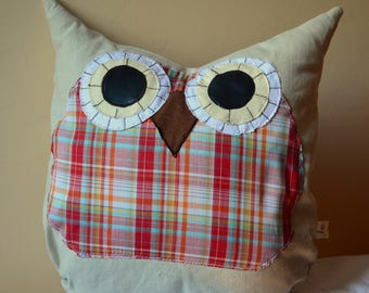 Decorative pillow, Owl pillow, owl cushion, funny colours, gift for kids, babies, room decor, home decoror