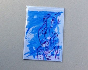 Old Man -Hand Painted Original - Art on a Card -Greeting card