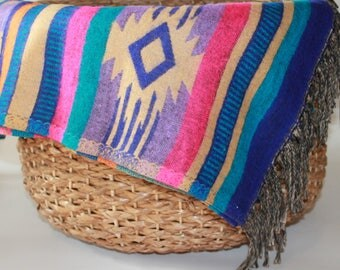 Southwest Decorative Throw Blanket - Blue/Purple/Pink