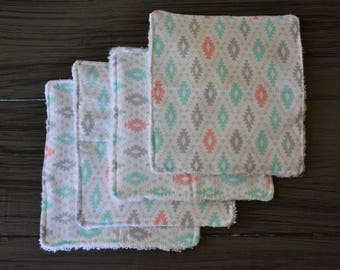 Set of 4 Baby Washcloths, Tribal Pattern, Baby Gift