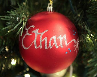 Red Shatterproof Personalised Christmas Decoration