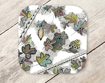Drink Coaster - Leaves, Autumn, Zentangle Art