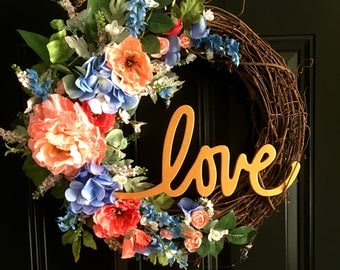 "Dixie Charm with ""LOVE"", Summer Wreath, Spring Wreath,"