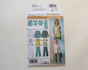 Simplicity Pattern Easy-To-Sew Pattern #3542: Ladies Scrubs, Size AA (10-12-14-16-18) Partially Cut