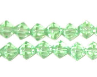 8mm Light Green Bi-cone Fire Polish Glass Bead