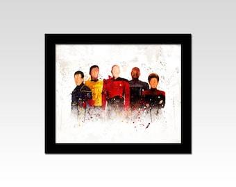 Star Trek inspired The Captains watercolour and splatter print