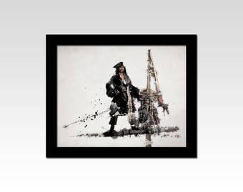 Pirates of the Caribbean inspired Captain Jack Sparrow watercolour effect print