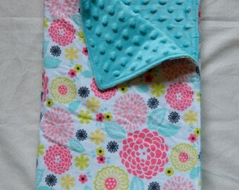 Minky Baby Blanket - Pink and Turquoise Floral Flannel / Turquoise Minky