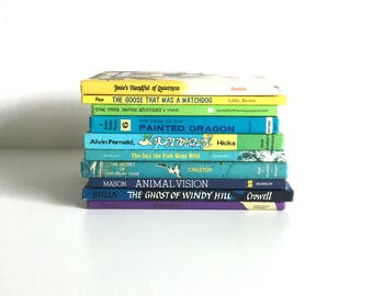 Vintage Weekly Reader Children's Book Club book stack / home decor 1960s & 1970s