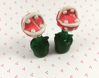 Polymer Clay Piranha Plant Earrings