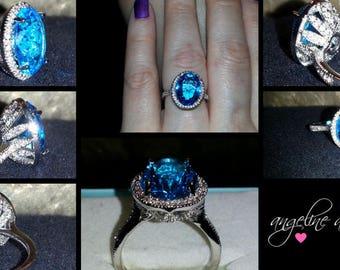 Ladies Silver Aquamarine Sapphire (4ct) Engagement Ring Size 8