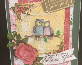 handmade love card, Valentines Day card, Anniversary card, owl love card, shabby chic romantic card, card for a girlfriend or boyfriend, 3D