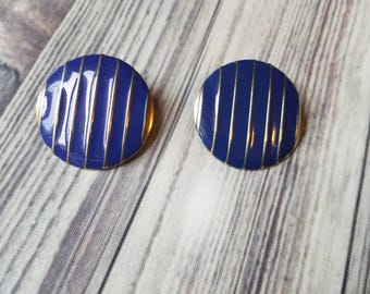 Blue and Gold Clip on Costume Earrings