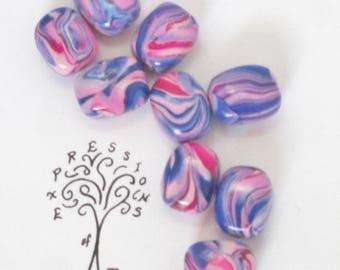 Blue Pink Swirl Beads, handmade beads, polymer clay beads