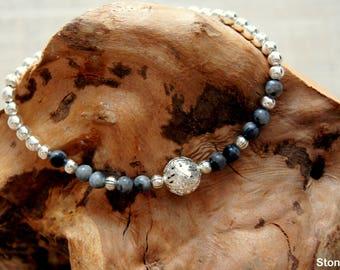 Labradorite beads thin bracelet