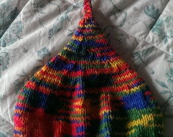 Rainbow hand knitted childs pixie hat