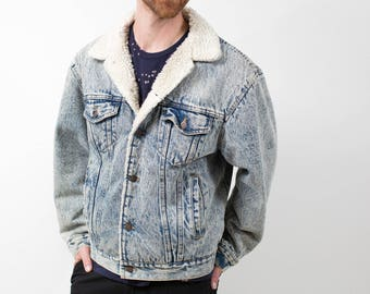 Denim Fur Jacket / Vintage Faded Acid Wash Jean Coat with White Faux Fur Lining