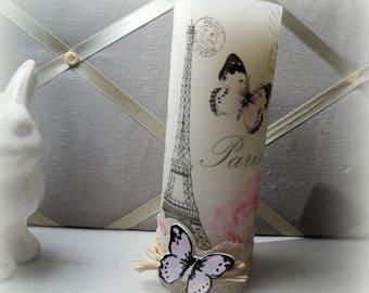 Bougie papillon déco romantique 19 cm